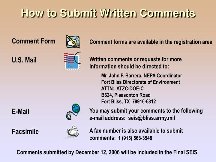 How to Submit Written Comments