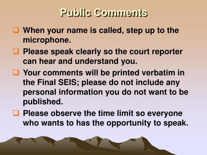 Public Comments