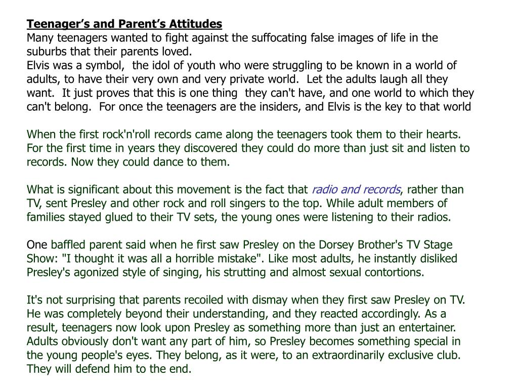 Teenager's and Parent's Attitudes