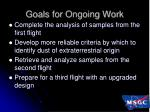goals for ongoing work