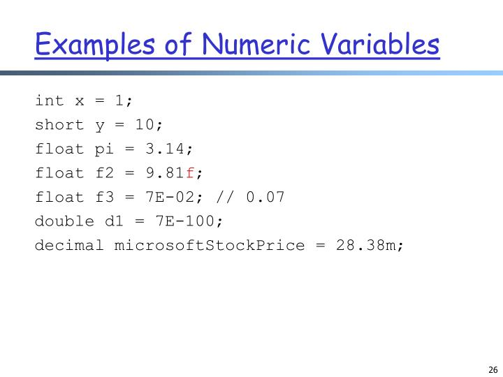 Examples of Numeric Variables