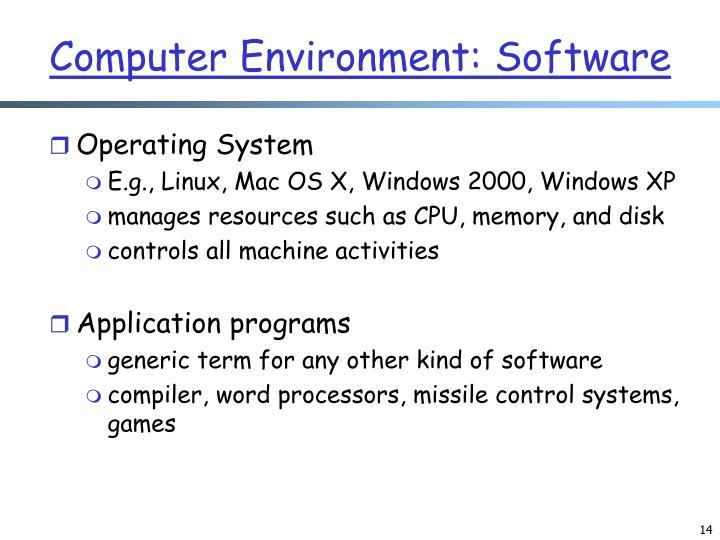 Computer Environment: Software