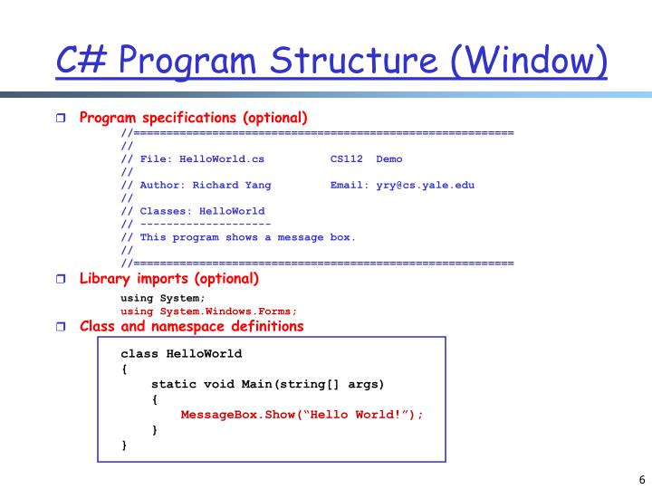 C# Program Structure (Window)