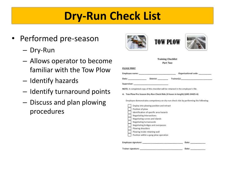 Dry-Run Check List