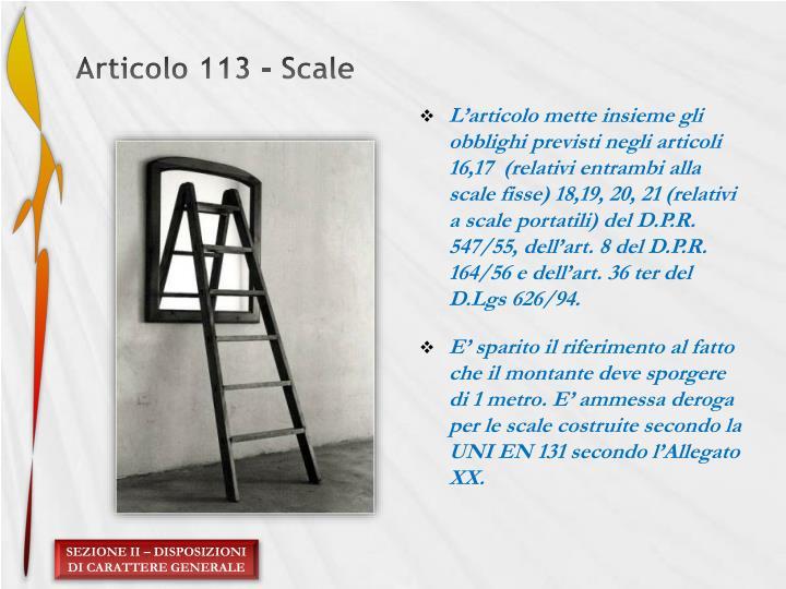 Articolo 113 - Scale