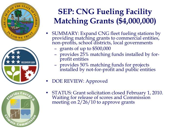 SEP: CNG Fueling Facility Matching Grants ($4,000,000)