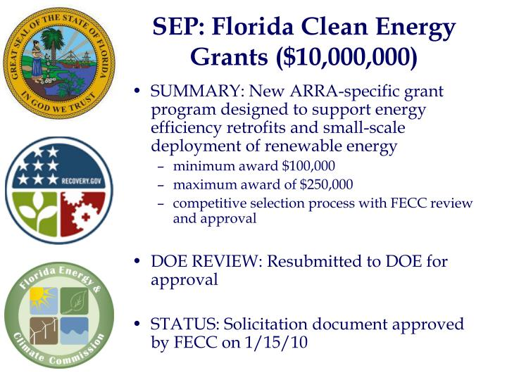 SEP: Florida Clean Energy Grants ($10,000,000)