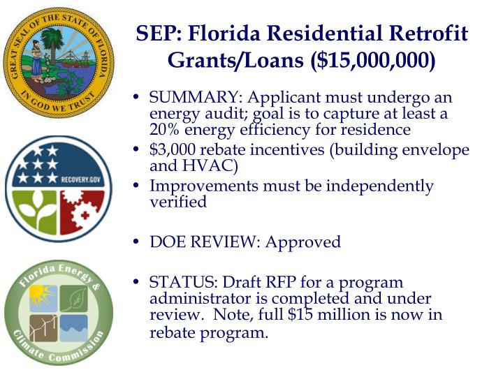 SEP: Florida Residential Retrofit Grants/Loans ($15,000,000)