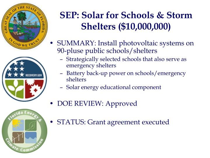 SEP: Solar for Schools & Storm Shelters ($10,000,000)