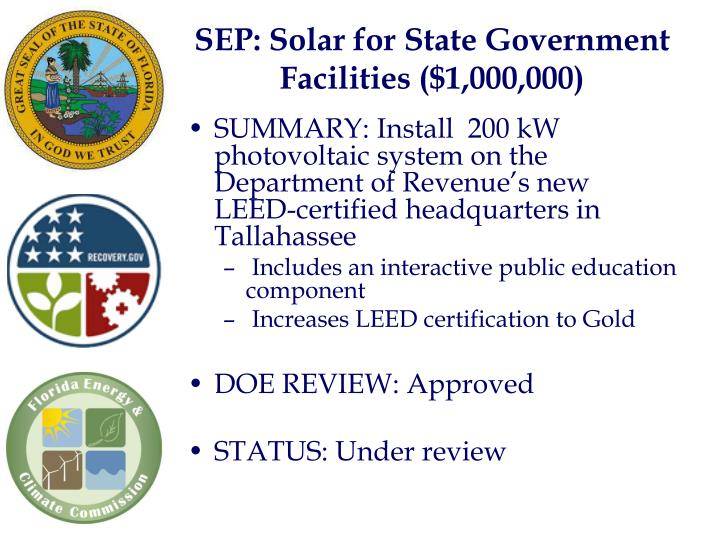 SEP: Solar for State Government Facilities ($1,000,000)