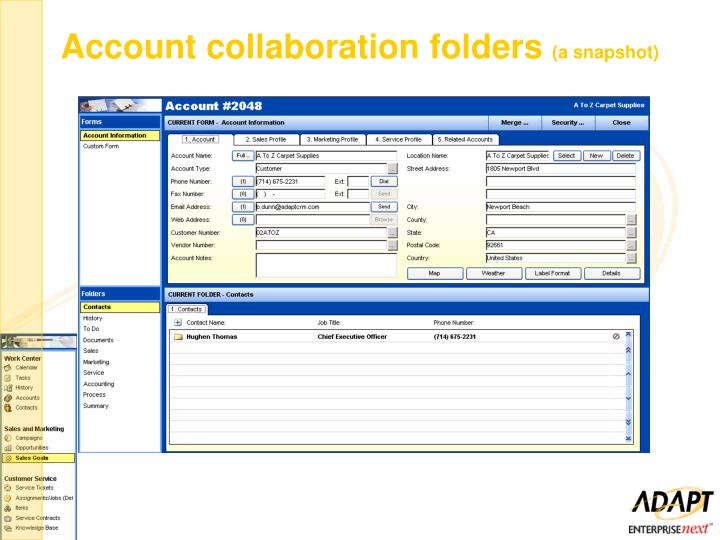 Account collaboration folders