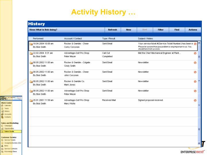 Activity History …