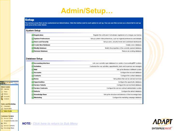 Admin/Setup…