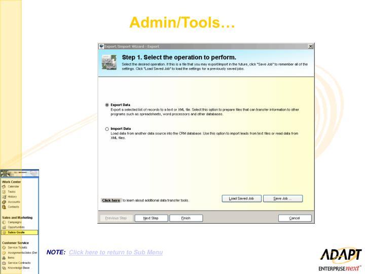 Admin/Tools…