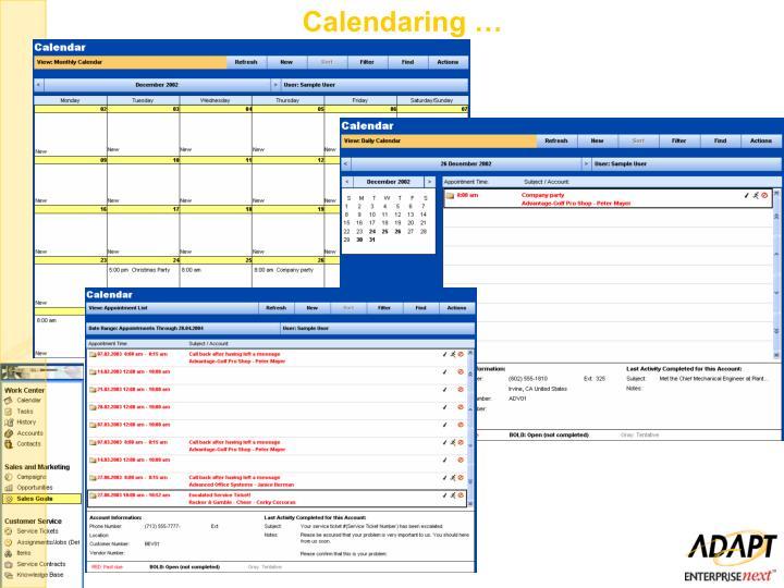Calendaring …