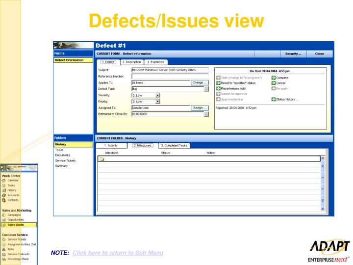 Defects/Issues view
