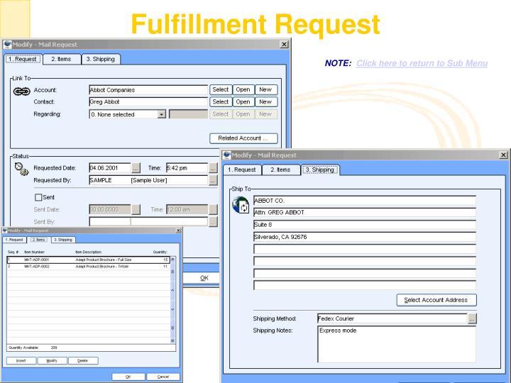 Fulfillment Request