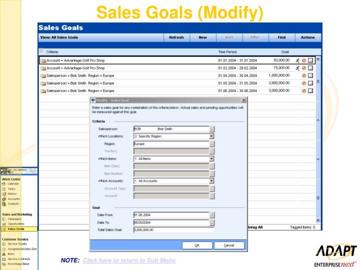 Sales Goals (Modify)