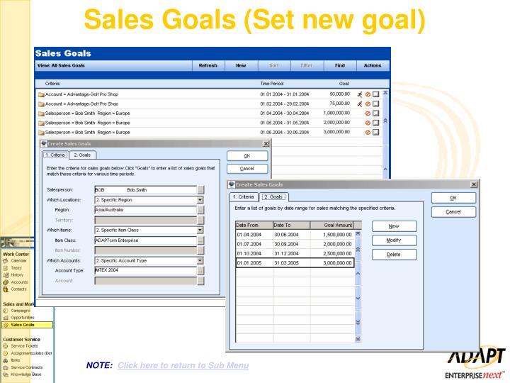 Sales Goals (Set new goal)