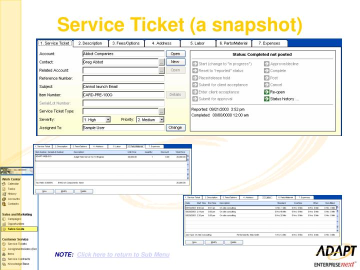 Service Ticket (a snapshot)