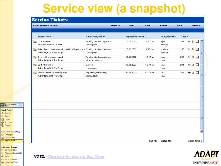 Service view (a snapshot)