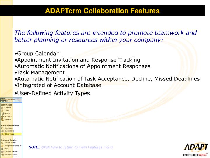 ADAPTcrm Collaboration Features