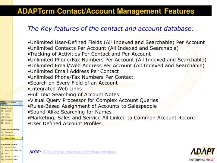 ADAPTcrm Contact/Account Management