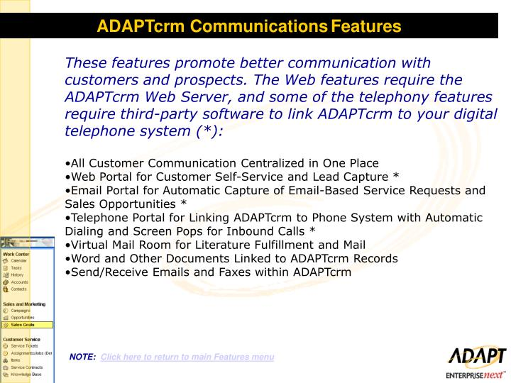 ADAPTcrm Communications