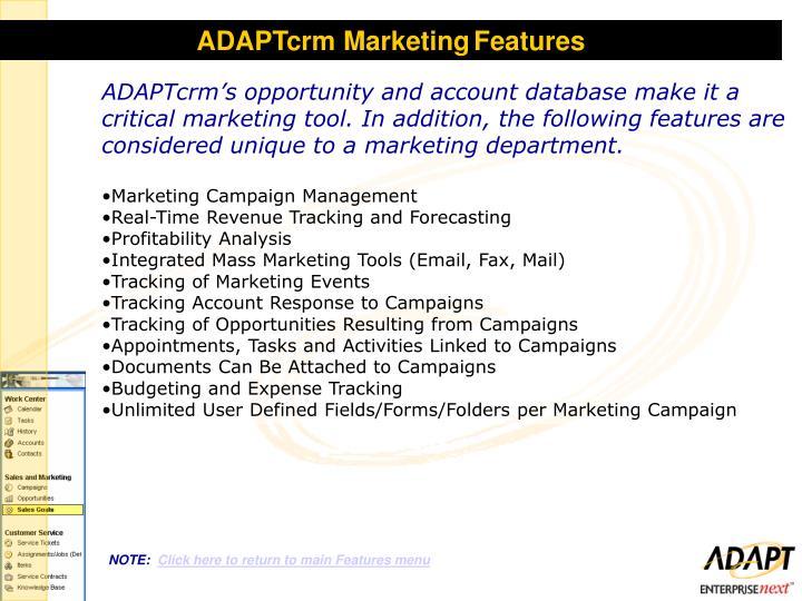 ADAPTcrm Marketing