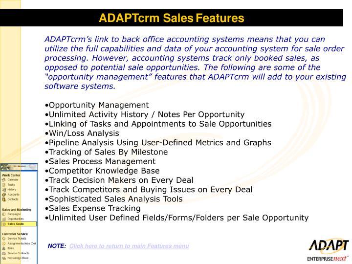 ADAPTcrm Sales