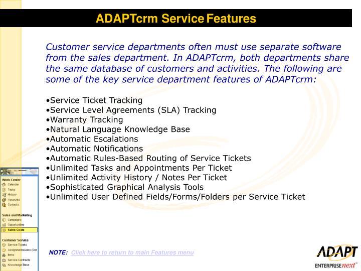 ADAPTcrm Service