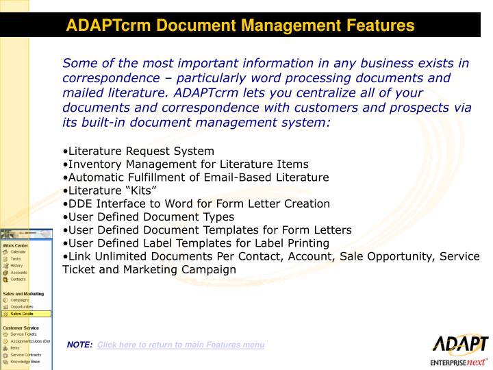 ADAPTcrm Document Management