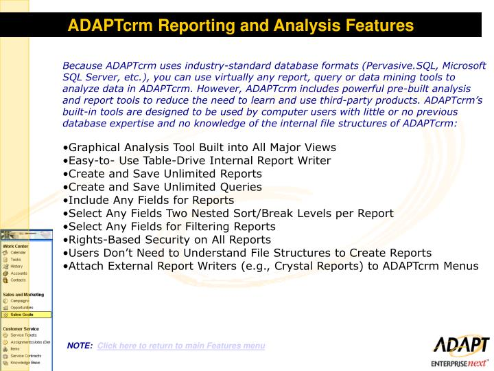 ADAPTcrm Reporting and Analysis Features