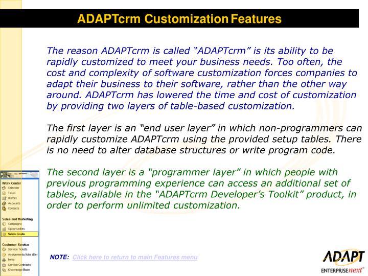 ADAPTcrm Customization