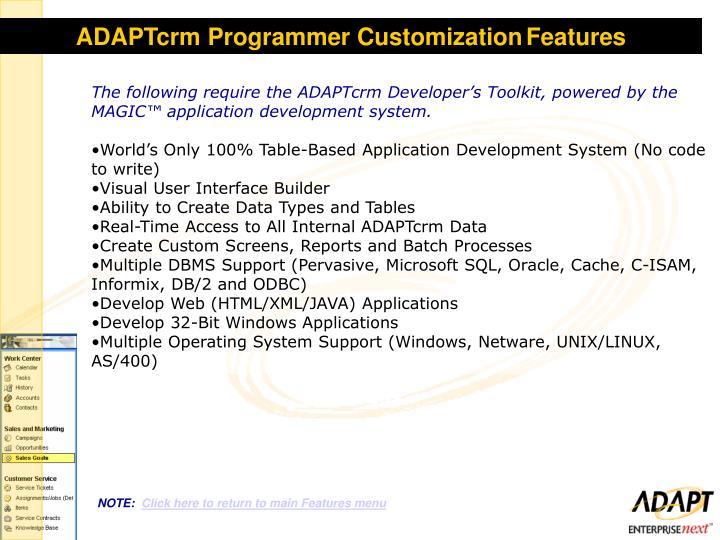 ADAPTcrm Programmer Customization