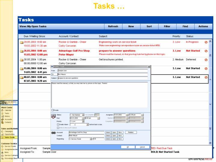 Tasks …