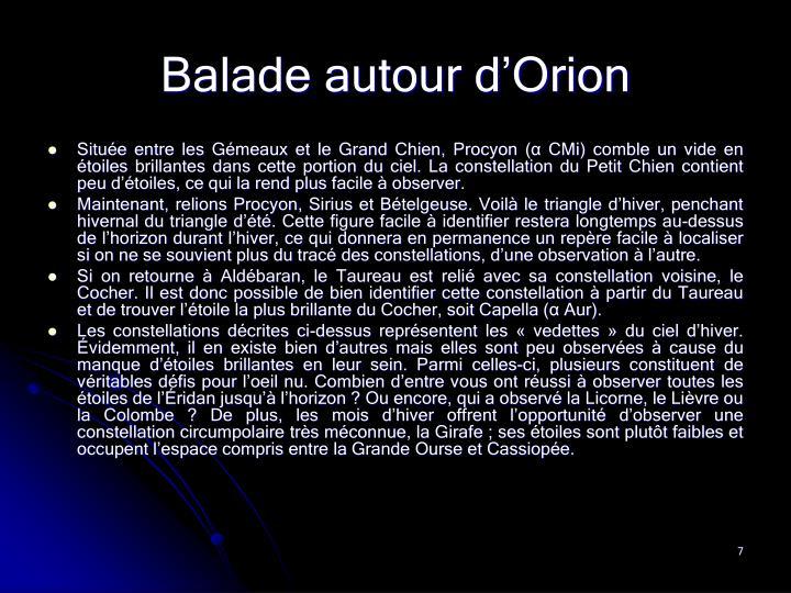 Balade autour d'Orion
