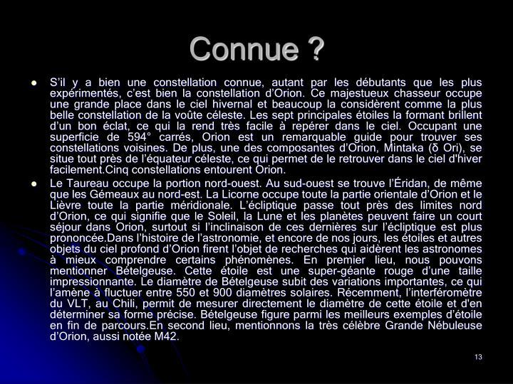 Connue ?