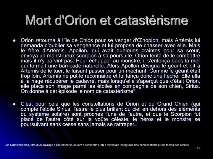 Mort d'Orion et catastérisme