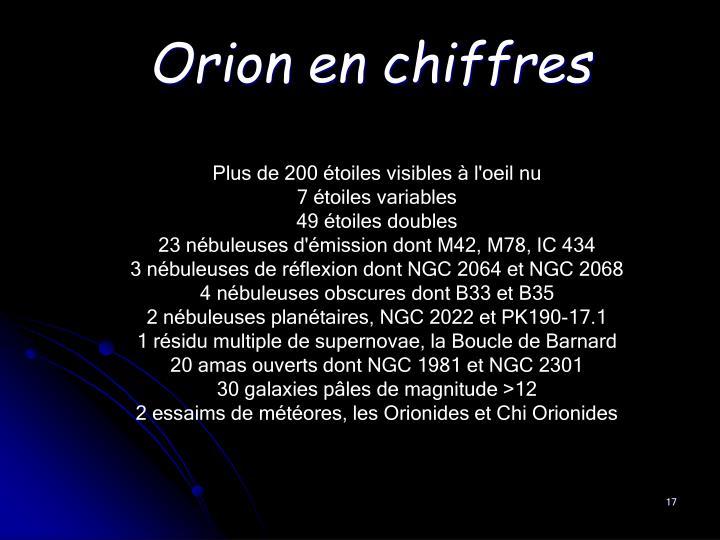 Orion en chiffres