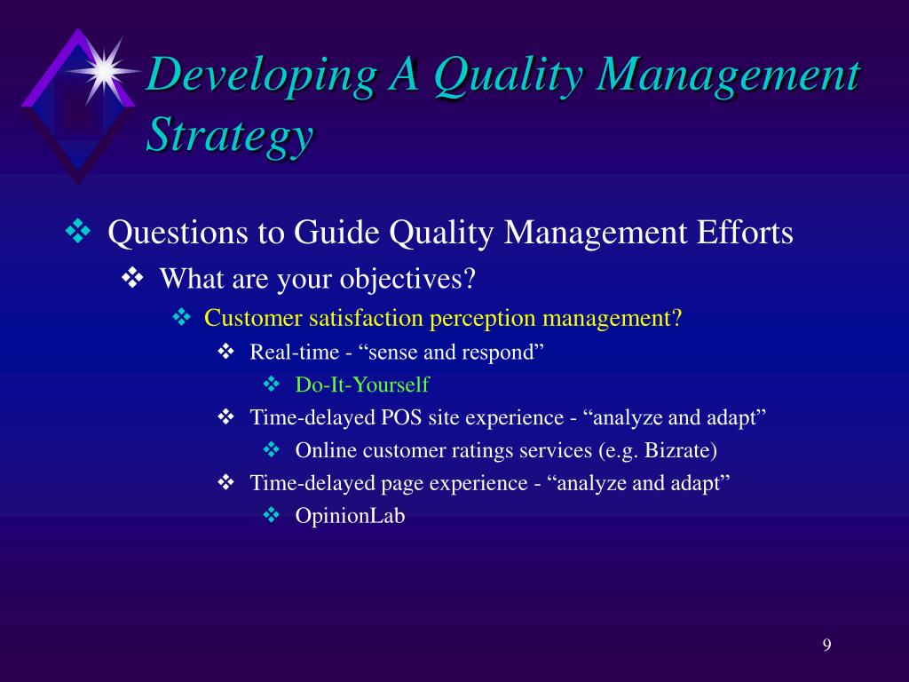 Developing A Quality Management Strategy