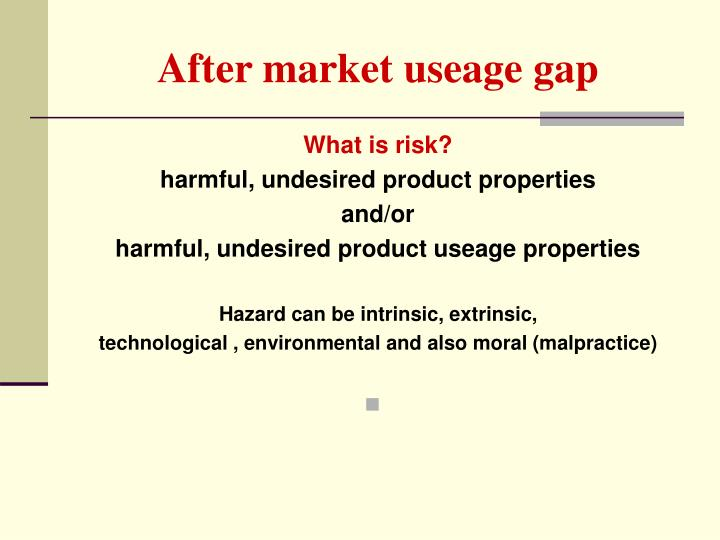 After market useage gap