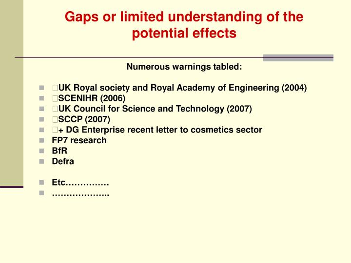 Gaps or limited understanding of the potential effects