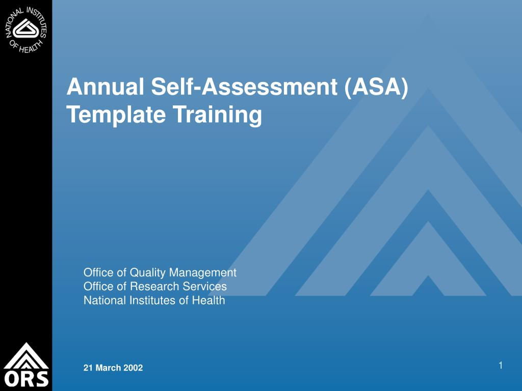 Annual Self-Assessment (ASA) Template Training