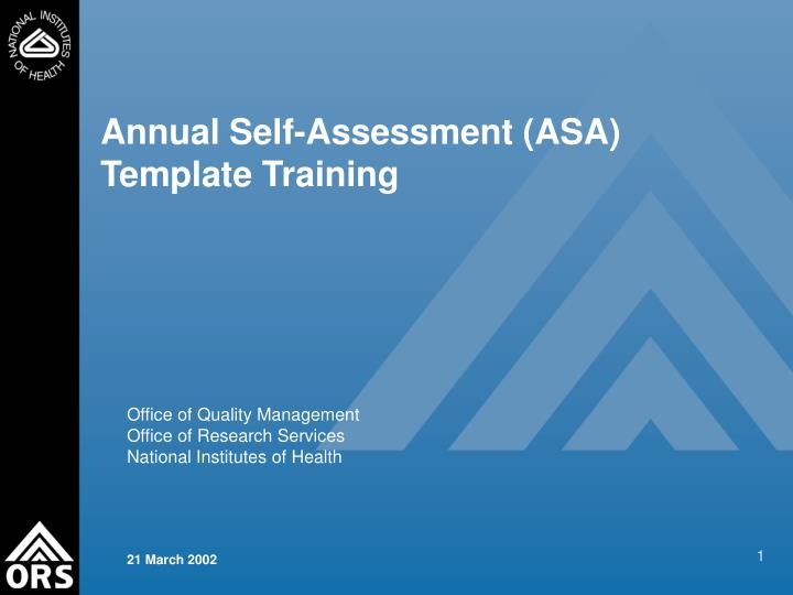 Annual self assessment asa template training l.jpg