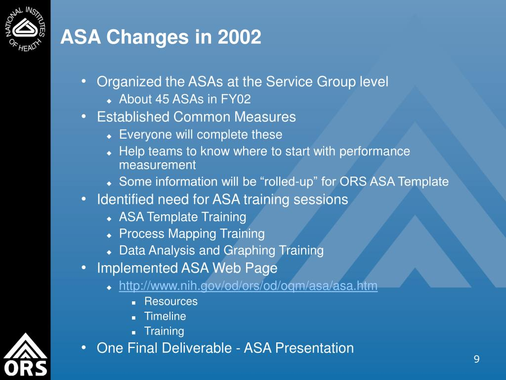 ASA Changes in 2002
