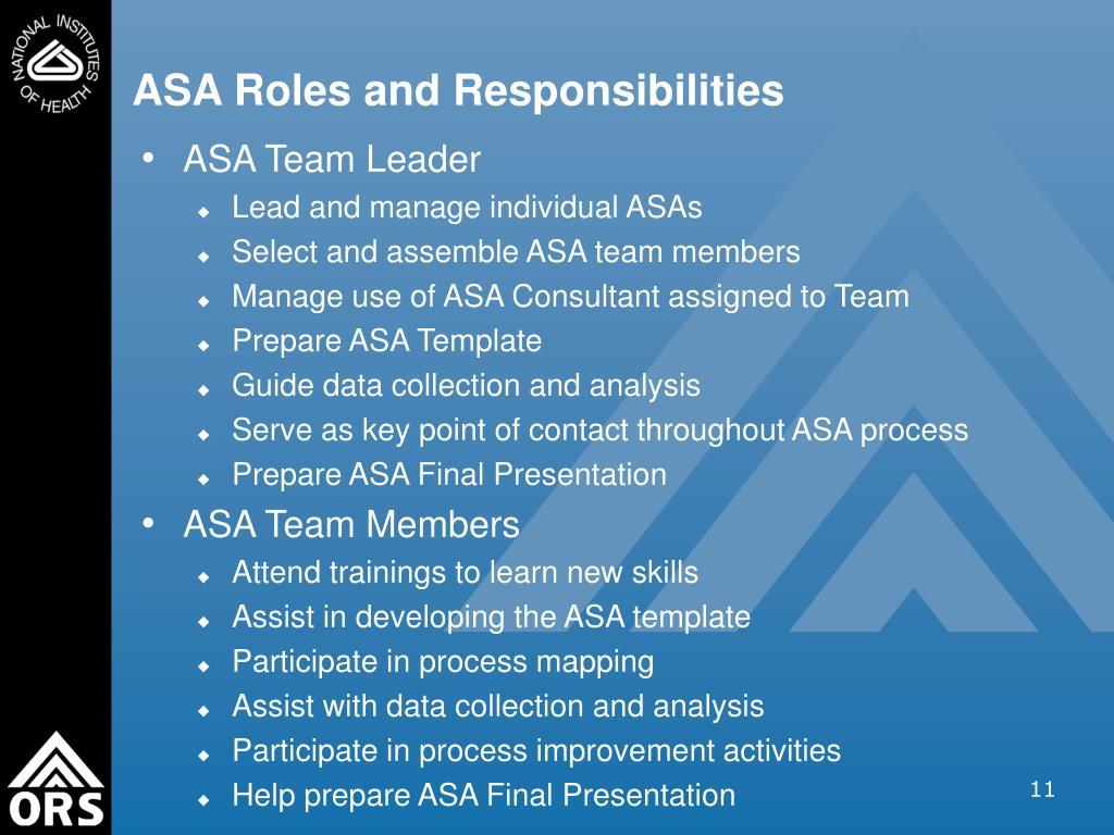 ASA Roles and Responsibilities