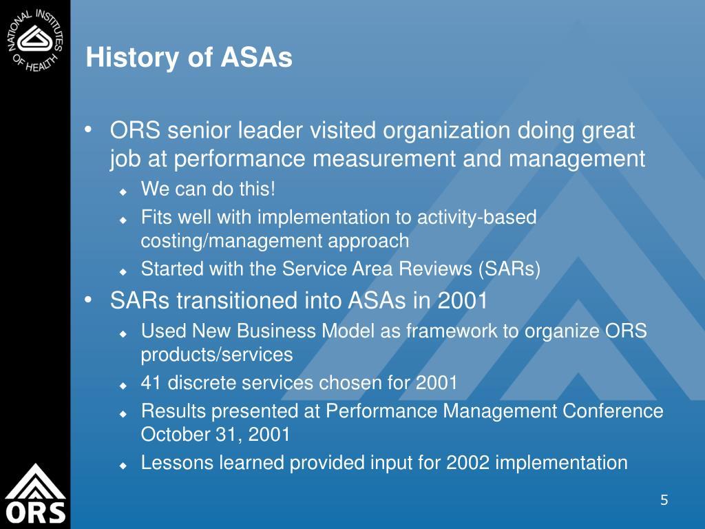 History of ASAs