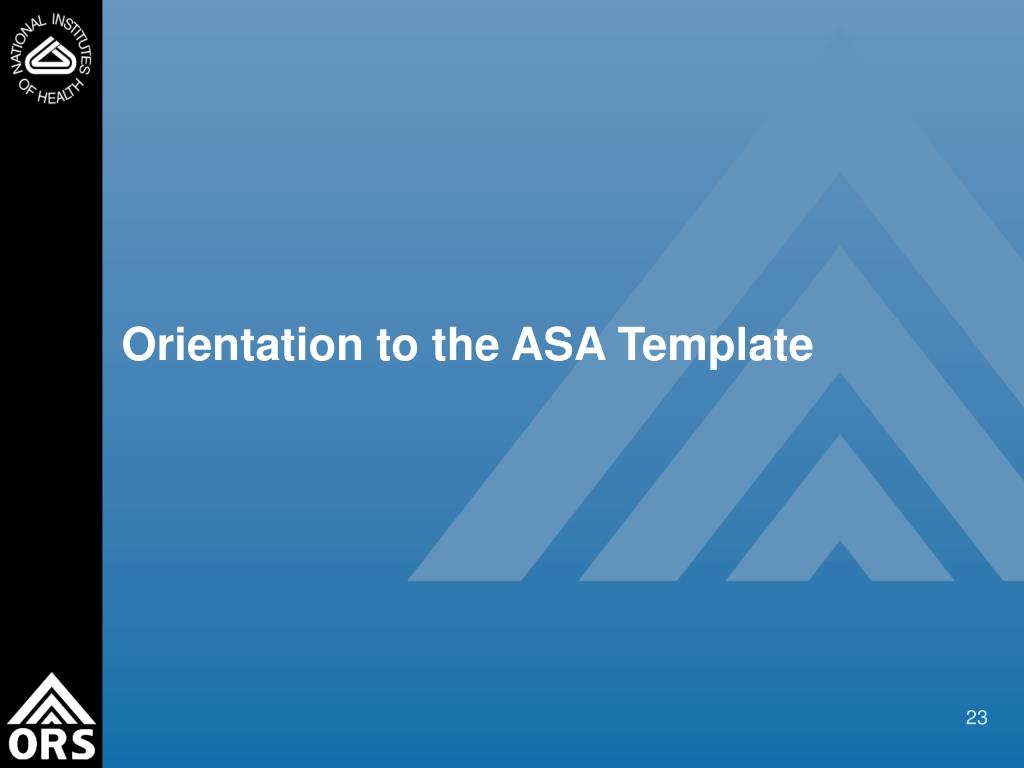 Orientation to the ASA Template