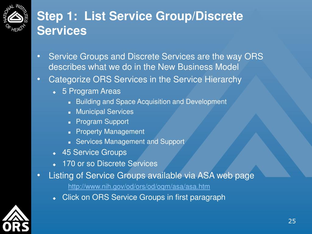 Step 1:  List Service Group/Discrete Services